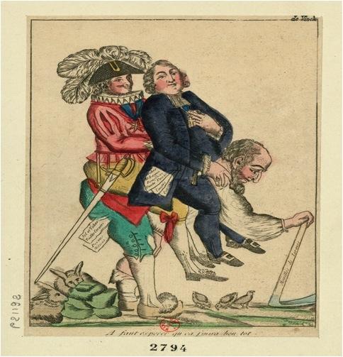 Figur 1. Anonym: A faut esperer qu ca finira ben tot [Vi må håbe det snart slutter], farvet radering. Paris, 1789.