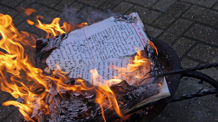 Burning The Books, Brighton Book of Debts V recital/burning, Brighton .Daniel Yanez Gonzalez Courtesy Fabrica. 22.5.2014
