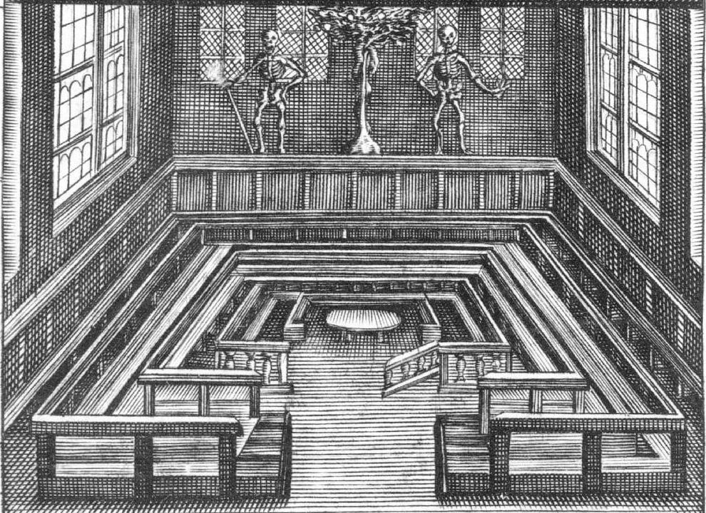 Det anatomiske teater i København, gengivet i anatomibog fra 1648. Salen ses fra kongens private galleri. Bagvæggen prydes af skeletterne Adam og Eva med kundskabens træ og slangen imellem sig. Sæderne var hængslede, så de kunne klappes op. Derved kunne tilskuerne rejse sig, når de skulle følge med i detaljerne. FOTO: Det Kgl. Bibliotek.