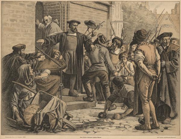 Reformatoren Hans Tausen forsvarer biskoppen Joachim Rønnow mod københavnske borgere efter at en kætteri-anklage mod Tausen i 1533 har givet anledning til protester blandt byens protestantiske borgere.
