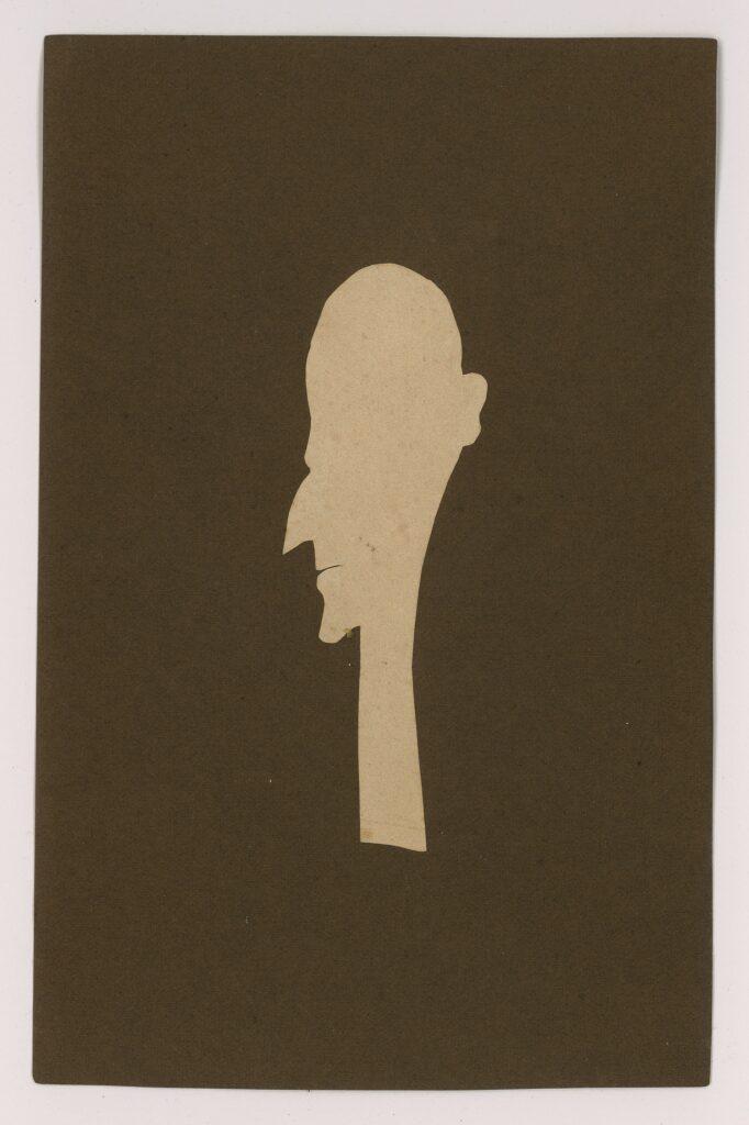 Mandshoved (selvportræt). Papirklip af H.C. Andersen. Brugt med tilladelse fra Odense Bys Museer - H.C. Andersens Hus.