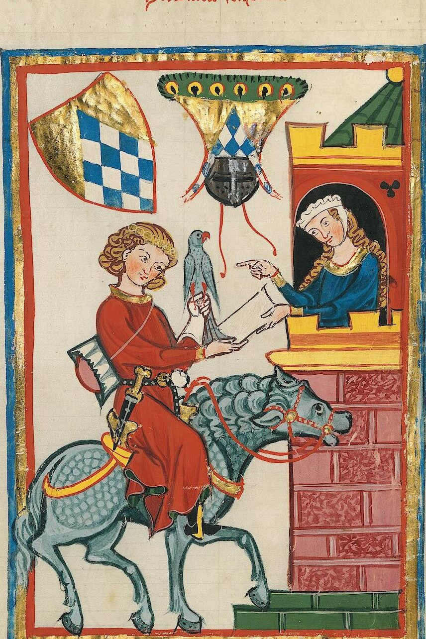 Minnesänger Leuthold den syvende portrætteret i Codex Manesse - et manuskript fra Middelalderen med digte og tekster forfattet mellem ca. 1300-1340. Originalen findes på Universitätsbibliothek Heidelberg. Udgivet under Creative Commons 3.0 via WikiCommons.